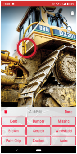 Yellow bulldozer with a red circle around one of its parts and some damage labels at the bottom
