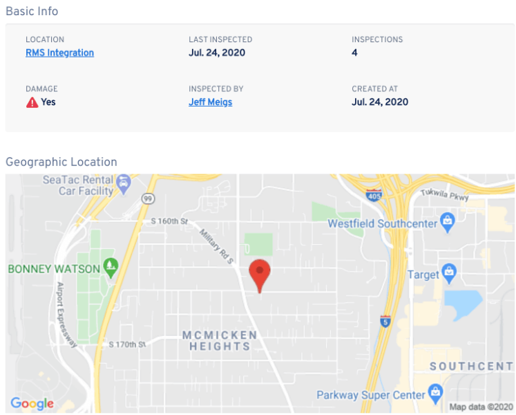 Google Maps and details showing the status of the equipment