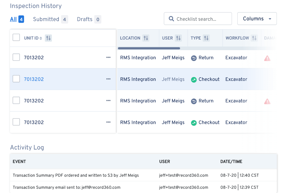 The Inspection History page