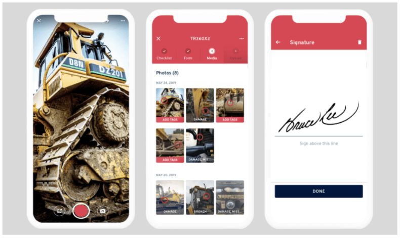 Photo of a truck and screenshots of the Record360 app.