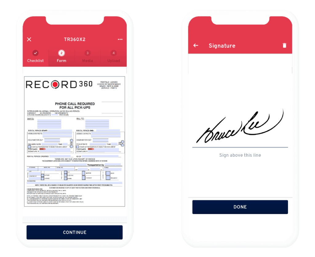An equipment inspection form and a sample e-signature on the Record360 mobile app.