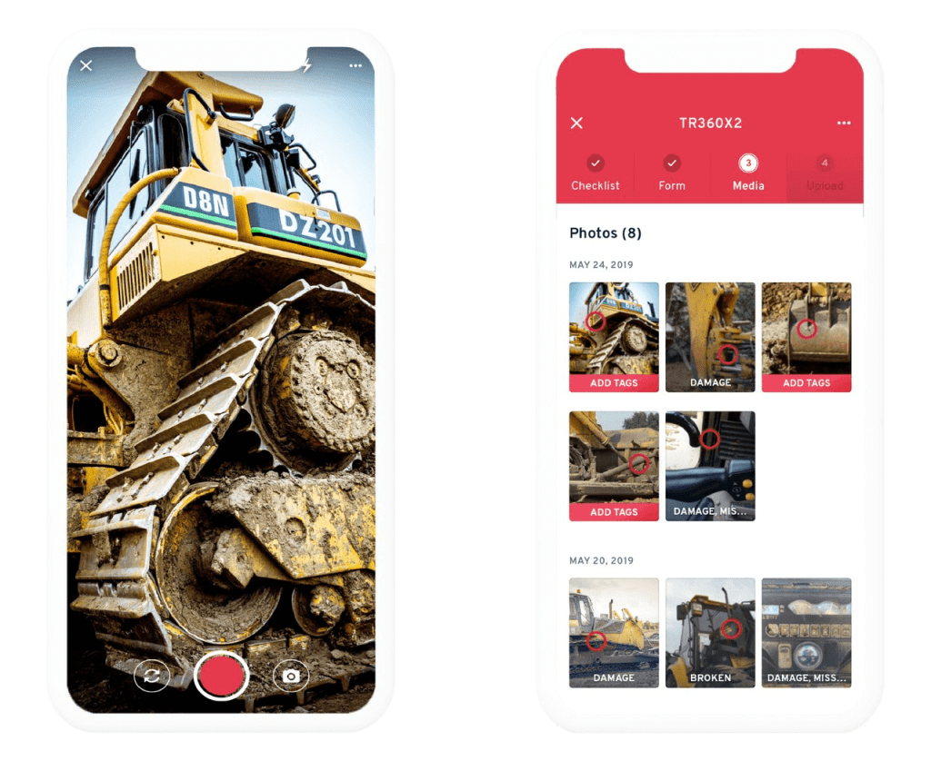 The image capturing feature and photo gallery on the Record360 mobile app's interface.