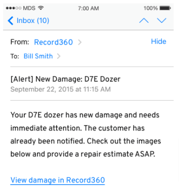 Email about truck damages as read in a mobile phone