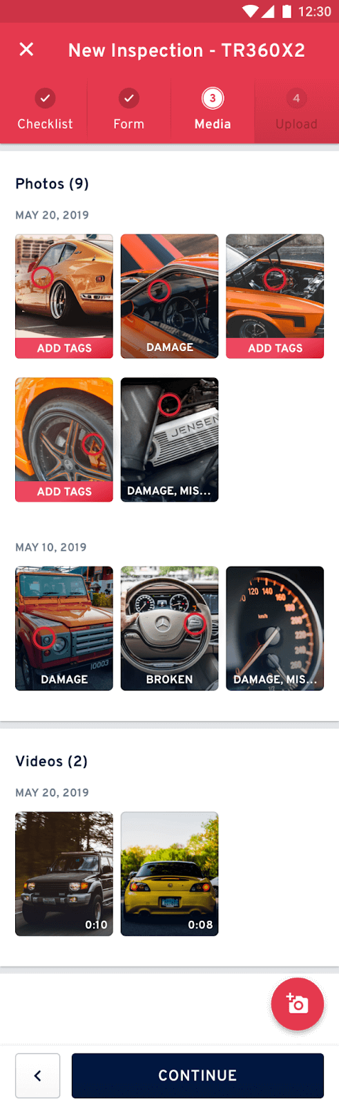 Photos of vehicles on a smartphone screen