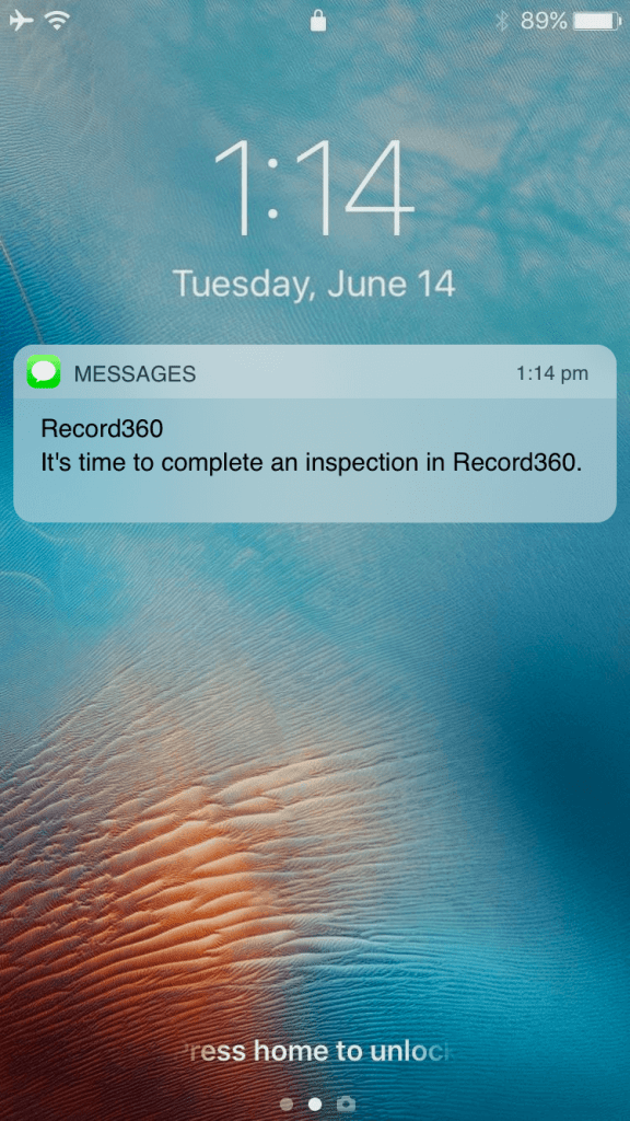 Preview of a text message on a mobile phone