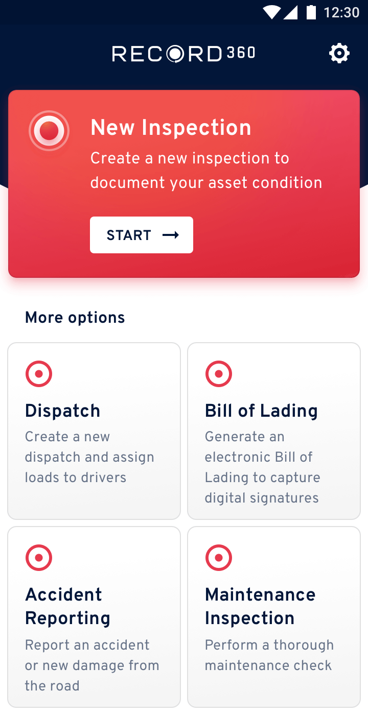 Electronic truck inspection options on a mobile app